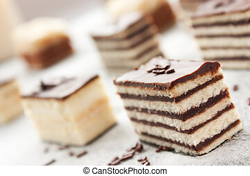 Variety of cake - Various cake pieces of chocolate and ...