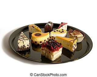 cakes - variety of cakes in a black serving tray