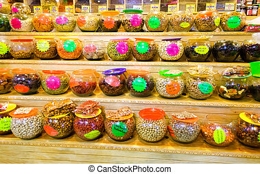 Variety of Candies and Nuts in Marketplace in Oaxaca