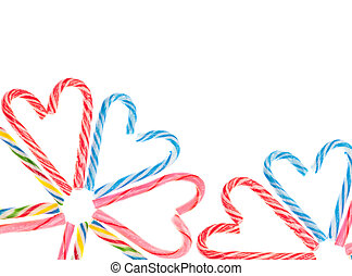 Variety of Candy Cane Candies Border