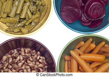 Variety of Canned Vegetables in Bowls