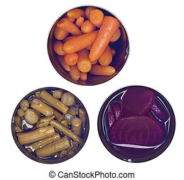 Variety of Canned Vegetables in Cans