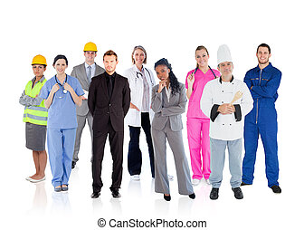Variety of careers on white background