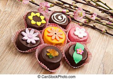 variety of cassate sicily dessert  with spring flower