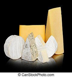 Variety of cheese isolated
