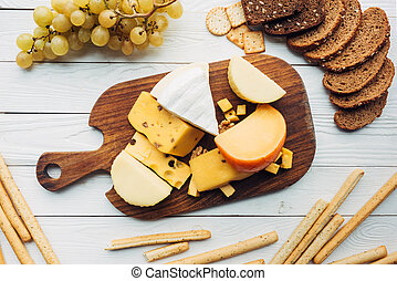 variety of cheese types and bread