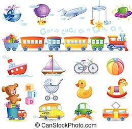 Set of cartoon toys different styles, vector illustration.