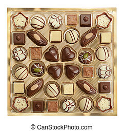 variety of chocolates in box