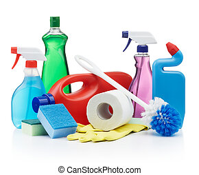cleaning products - variety of cleaning products on white ...