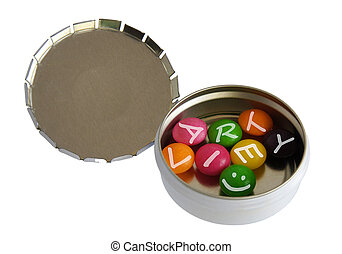 Variety of color pills - Color pills with letters in pillbox...