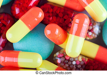 medicine - variety of colorful medicine close-up, capsules...