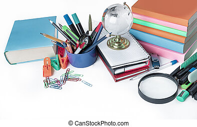 variety of colorful school supplies on a white background