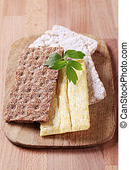 Variety of crispbread - Various kinds of crispbread on a...