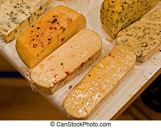 Variety of different cheese products