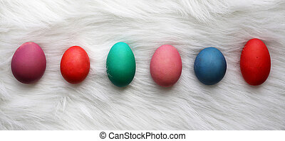 Variety of Different Size and Color Easter Eggs Lined up on White Fur Background