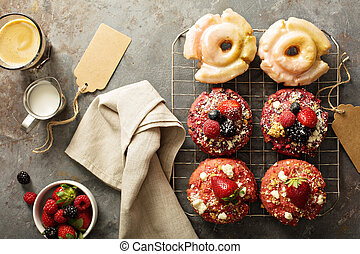 Variety of donuts on a cooling rack