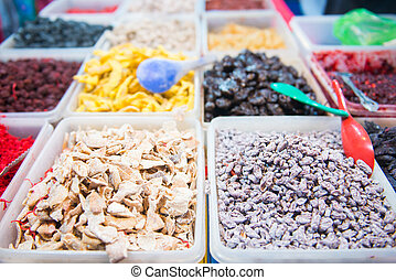 variety of dried fruits for sale in market