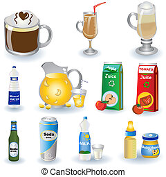 Color vector illustration of different non-alcoholic beverages isolated on white background.