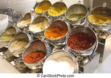 Variety of dry spices and herbs at hotel