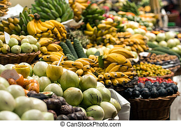 Variety of exotic fruit at sale on the market.