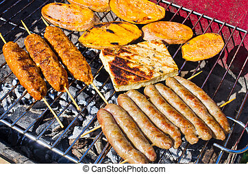 Variety of food on the bbq