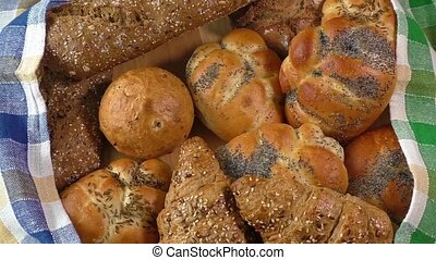 Variety of fresh bread on sacking