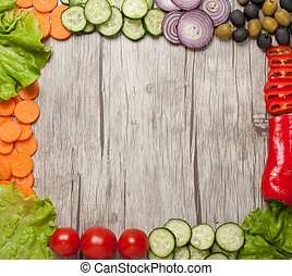 Variety of fresh healthy vegetables on table