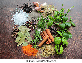 Variety of fresh herbs and aromatic spices. Food and cuisine ingredients.