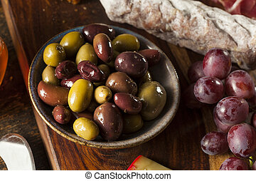 Variety of Fresh Organic Olives Ready to Eat