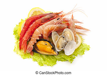 seafood - variety of freshly caught seafood on white...