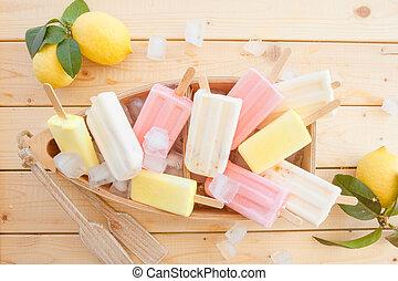 Variety of frozen popsicles - Variety of frozen fruit...