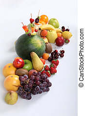 Variety of fruit arranged on surface