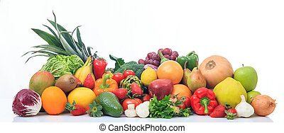 Variety of fruits and vegetables on white background