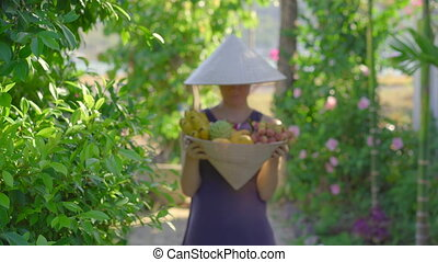 Variety of fruits in a Vietnamese hat. Woman in a Vietnamese...