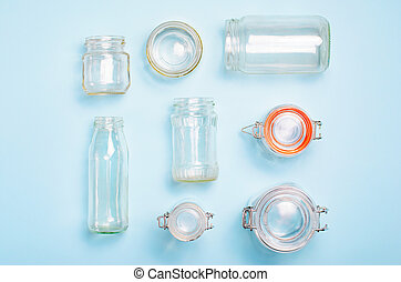 Variety of Glass Jars and Bottles, Zero Waste Shopping Concept