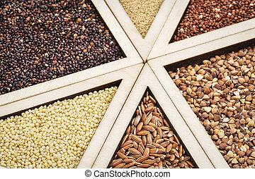 gluten free grains - variety of gluten free grains (red and ...