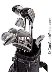 variety of golf clubs - a variety of steel golf clubs in bag...