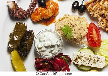 variety of greek appetizers