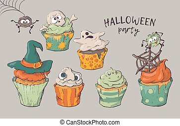 Variety of Halloween cupcakes isolated. Vector illustration. Hand Draw.