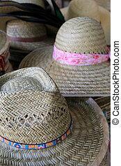 Variety of hats at the market
