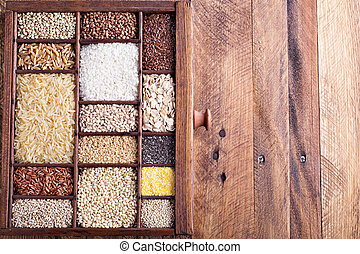 Variety of healthy grains and seeds