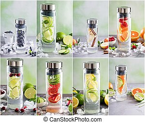 Variety of infused water collage