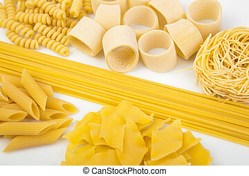 Variety of Italian pasta - Variety of types and shapes of ...