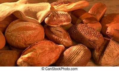 Variety of loaves of bread. Harvest of the farm. Healthy...