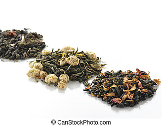 loose tea - variety of loose tea with fruits and flowers
