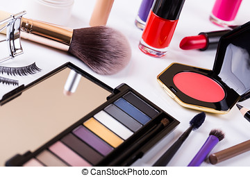 variety of makeup cosmetics