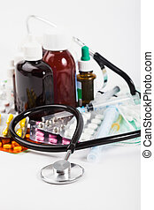 Variety of medicine - A variety of medicine and stethoscope...