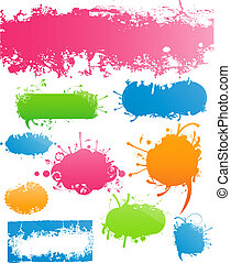Variety of Modern Colored Grungy and Floral Banners - Set of...