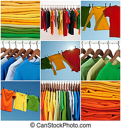 Variety of multicolored casual clothing and colorful laundry.