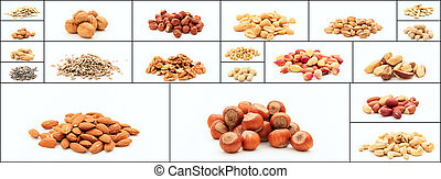 Variety of nuts collage